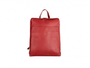 Leather Midi Backpack in Red Gold